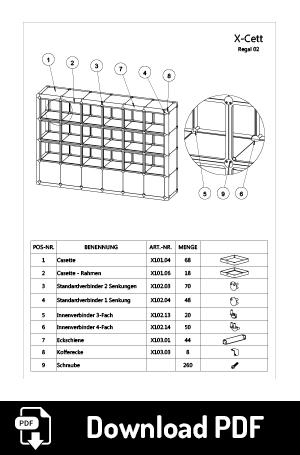 Datenblatt x-cett würfel individuell cassette kreativ mobeliar Möbelstück bausatz baukastensystem einfallsreich ideenreich idee Kunst künstlerisch Regal Schrank Vitrine